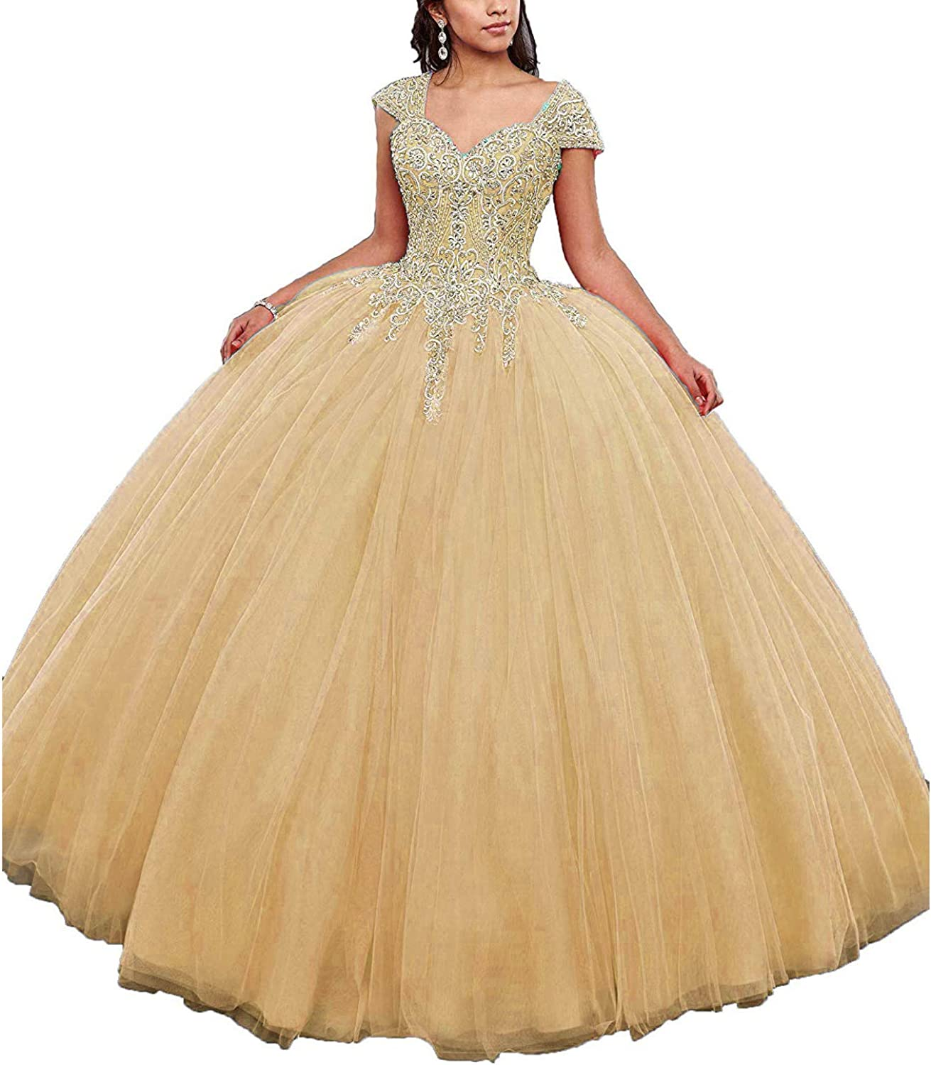 20KyleBird Women's Sweetheart Beaded Quinceanera Dresses with Jacket Ball Gown Tulle Appliques Sweet 15 Dresses