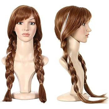 Anogol Hair Cap+Movie Braided Wig for Cosplay Wig Brown Braid Princess Wigs for Women Girls Halloween Costume (Brown,1-Pack)