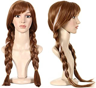 Anogol Hair Cap+Movie Braided Wig for Cosplay Wig Brown Braid Princess Wigs for Women Girls Halloween Costume (Brown,1-Pack)