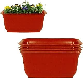 Meded Garden Essential Plastic Window Planter/Pots (Rectangular 6.1 X 13.4 Inch, Brown, Pack of 6)