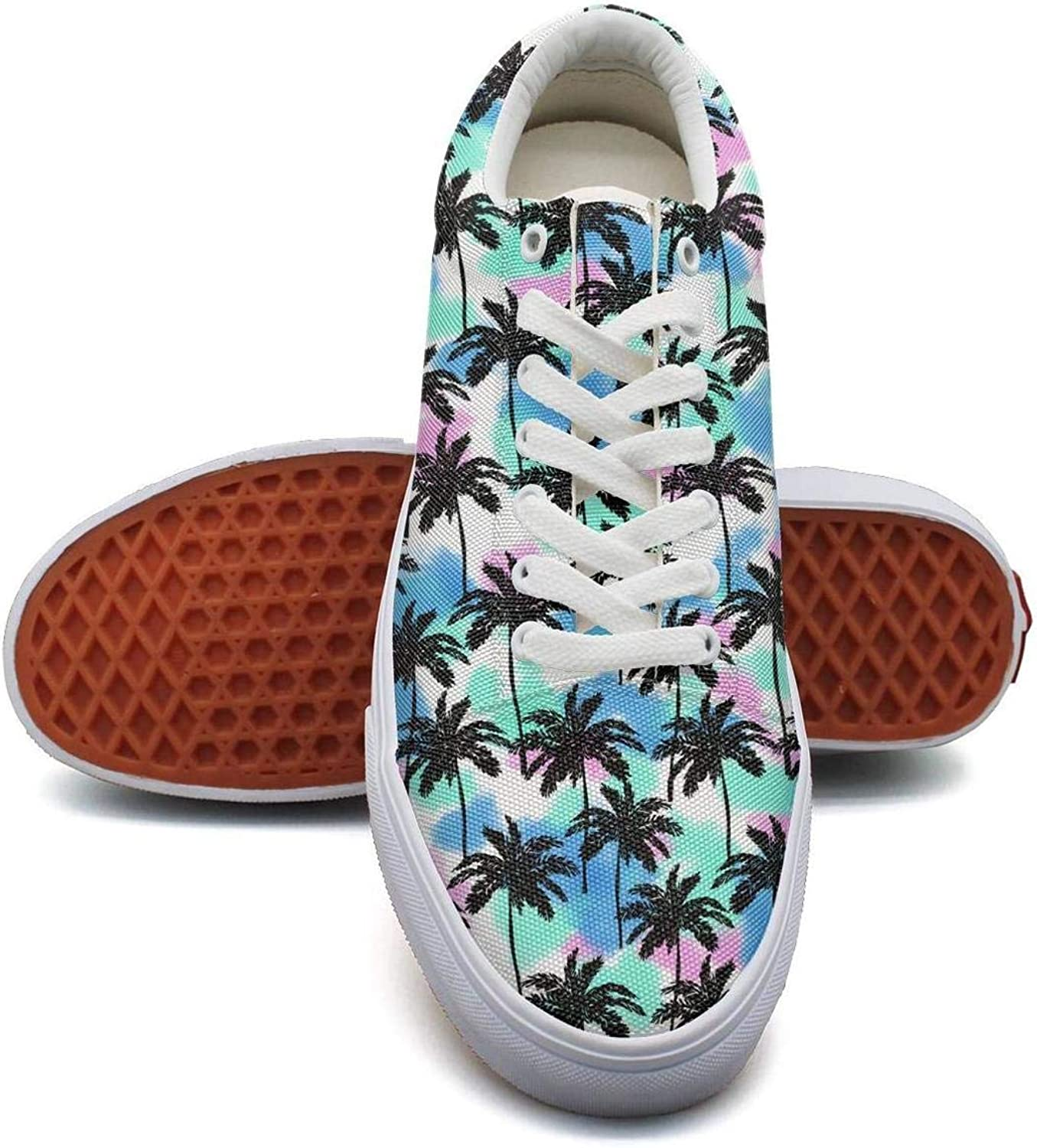 Toucan Tropical Palm Tree Watercolor Canvas Sneakers for Women spring Lightweight Running shoes Girls