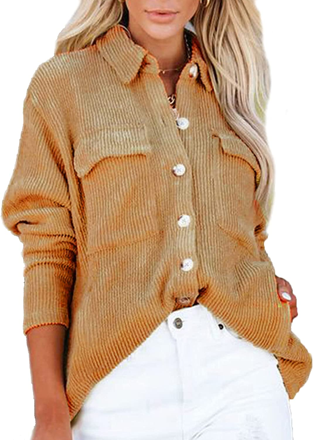 LYHNMW Womens Corduroy Shirts Collared Casual Long Sleeve Oversized Button Down Blouses Shacket Jackets Tops with Pockets