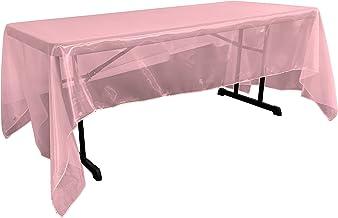 مفرش مائدة مستطيل من الأورجانزا شفاف من LA Linen مقاس 152.4 سم × 344 سم. صنع في الولايات المتحدة الأمريكية TCOrgz60x144_Pi...