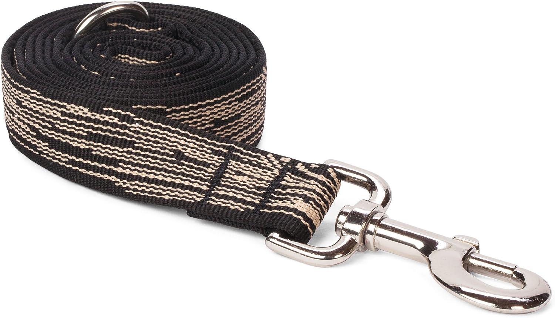 Fab Dog Black Faux Bois Nylon 1Inch Lead Dog Leash, 5 Feet