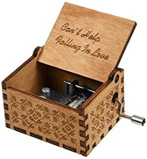 Can't Help Falling in Love Wood Music Box, Antique Engraved Musical Boxes Case for Birthday Present Kid Toys Hand-Operated...