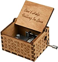 Huntmic Can't Help Falling in Love Wood Music Box, Antique Engraved Musical Boxes Case for Birthday Present Kid Toys Hand-Operated (Can't Help Falling in Love)