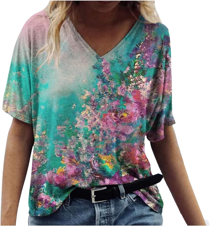 AODONG Shirts for Womens,Womens Summer T-Shirt Printed Casual Blouse Short Sleeve Shirts Womens Tops