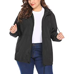 KaloryWee Plus Size Rain Coat for Women Waterproof Jacket Hooded Rainwear Contrast Color Lightweight Coat Quick Dry Outdoor Outwear for Hiking Camping Out Wear Ladies Breathable Windbreaker Jacket