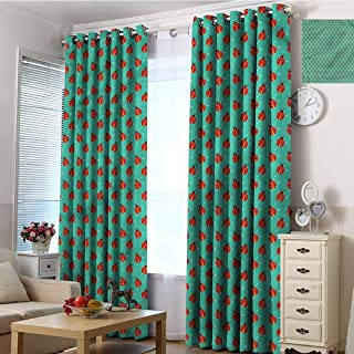 CostomDIY-drapes Grommets Curtain for Bedroom, Modern Cute Ladybugs Tiny Stars Curtains Door Panel, 72