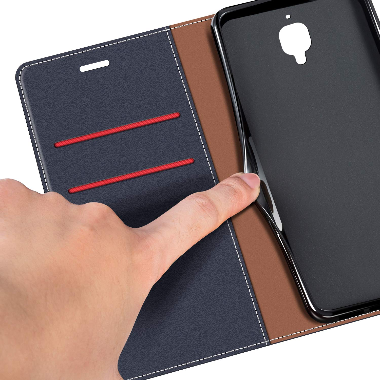 COODIO Funda OnePlus 3 con Tapa, Funda Movil OnePlus 3, Funda Libro OnePlus 3 Carcasa Magnético Funda para OnePlus 3 / OnePlud 3T, Azul Oscuro/Rojo: Amazon.es: Electrónica
