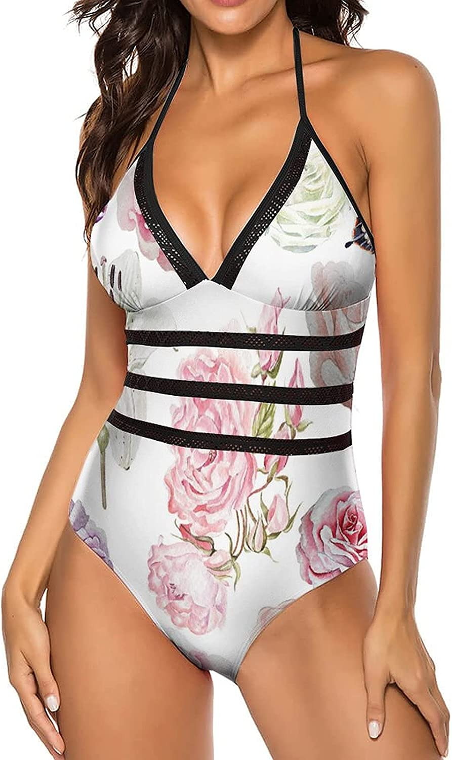 AngelSept Women's One Piece Swimsuit V Neck Seamless Tummy Control_405