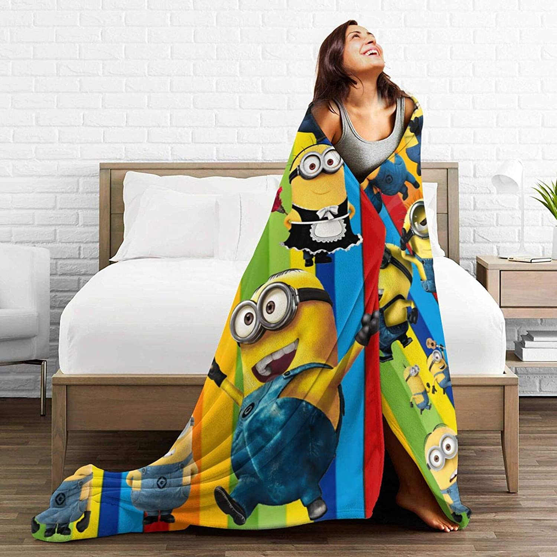 All-Seasons Lightweight, Cozy and Warm Custom Fleece Bed Blankets, 3D Family Anime Movie Mi-ni-ons Wedding Throw Blankets,Winter