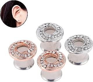 Stainless Steel Diamond Zircon Rosegold/Silvery Bagel Spiral Rhinestone Earrings Wedding Ear Tunnels Plugs Stretcher Expander Kit Gauge Set 0g for Girl Boy