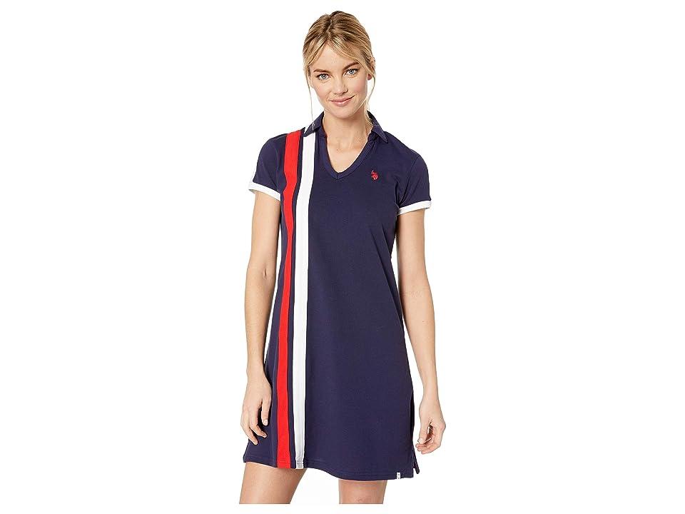 U.S. POLO ASSN. Vert Stripe Dress (Evening Blue) Women