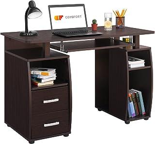 Comifort Mesa de Ordenador Escritorio Mesa de Oficina 115x55x76 cm (WENGUÉ)