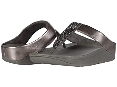 FitFlop Sparklie Crystal Toe Post (Pewter) Women