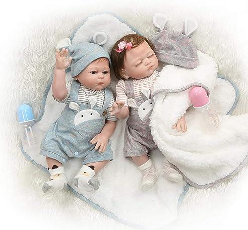 TERABITHIA 20 Zoll 50 cm Realistische Kaninchen Sanfte Berührung Paar Wiedergeboren Baby Puppe in Silikon Vinyl Ganz  Neugeborenen Puppen Zwillinge Wahable für Kinder
