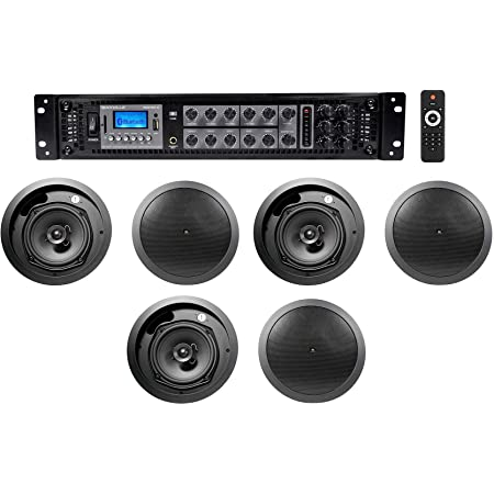 "(6) JBL 6.5"" Black Commercial Ceiling Speakers+Amp 4 Restaurant/Office/Cafe/Bar"