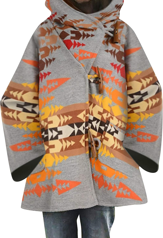 OMZIN Women's Hooded Horn Button Cloak Poncho Coat Oversized Printed Jacket