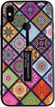 IPLUS iPhone XR Soft TPU Case with Flexible Finger Grip IMD Vivid Printing Flower Clear Folk-Custom Wood Grain Design Slim-Fit for Girls Women (Folk-Custom, iPhone XR)