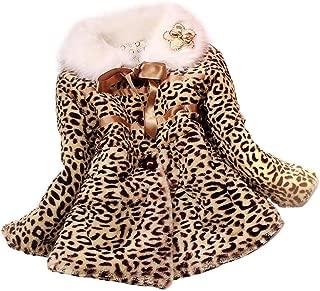 Little Girls Cute Faux Fur Leopard Hoodies Coat Winter Warm Jacket Snowsuit