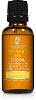 Natural Liquid Vitamin D3 | 5000iu per 5 Drops - Extra Strength - Citrus Flavor -180 doses - 6 Month Servings – Vegetarian and Gluten Free