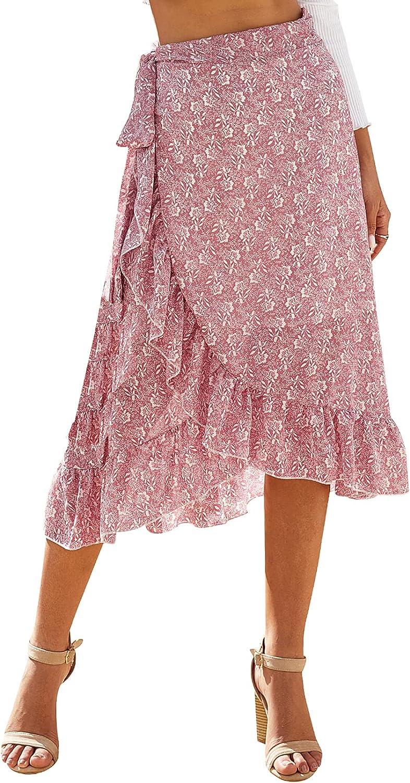 Women's Midi Skirt Boho Wrap Skirt Asymmetrical Tie Up Skirt Summer Floral Ruffle Skirts Chiffon Flowy Skirt Split Skirt