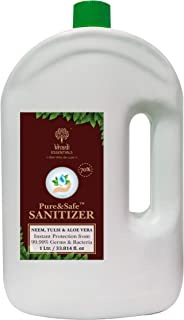 Khadi Essentials Pure&Safe Instant Hand Sanitizer 1000ml with 70% Ethyl Alcohol, Neem, Tulsi & Aloe Vera Extracts with Gly...