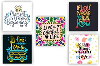 """Photojaanic Set of 5 magnets for fridge Size 2.3""""X2.3"""" Multicolor with unique quotes Matte Finish, Design great for magnet..."""