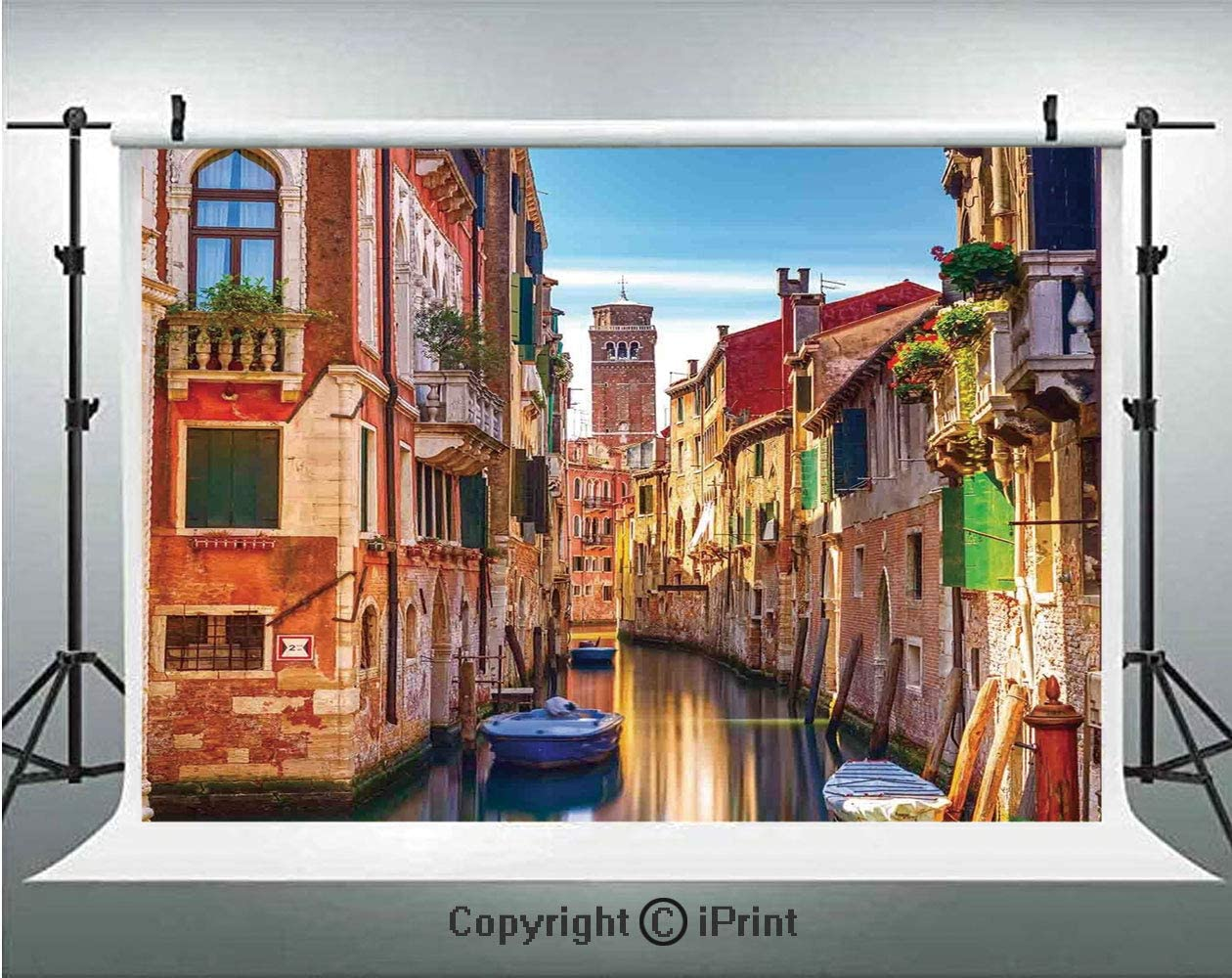 Cityscape Photography Backdrops Venice Cityscape Narrow Water Canal Building Traditional Old Buildings Heritage,Birthday Party Background Customized Microfiber Photo Studio Props,10x6.5ft,Multi