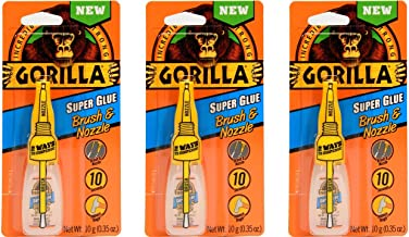 Gorilla Super Glue with Brush & Nozzle Applicator, 10 Gram, Clear, (Pack of 3)