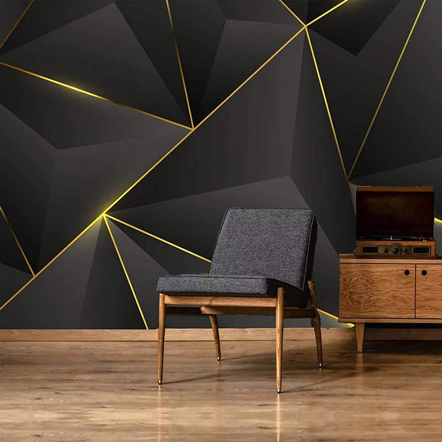 KMAOMAOZSH specialty shop Wall Mural Wallpaper 3D Complete Free Shipping Striped Wallpa DIY Gold Large