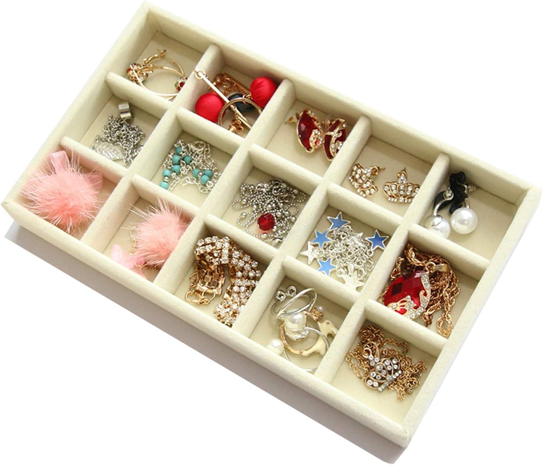Jewelry Storage Display Trays Set of 4 Velvet Jewelry Tray,Stackable Jewelry Trays Organizer for Drawer Beige Earring Necklace Bracelet Ring Organizer