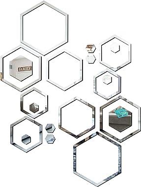 Look Decor® 20 Shape Hexagon Silver (B07MFQ5VK5) 3D Acrylic Mirror Wall Sticker Decoration for Kids Room/Living Room/Bedroom/