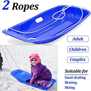 KALUOLA Snow Sleds Toboggans, Sledges & Toboggans Heavy Duty Sledge Toboggan Sleigh Sled 2 Rope Plastic Unisex Kids Adults Ski Fun Board - Blue…