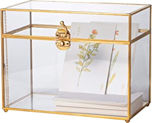 Purzest Glass Card Box, Large Geometric Terrarium Gold Handmade Brass Vintage Rectangle Shape with Foot for Wedding Receiption, Wishwell, Keepsake Centerpiece, Sturdy, Glass Box Only