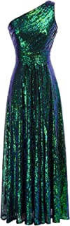 Kate Kasin Vestito Monospalla Paillettes da Donna Senza Maniche Party Dress