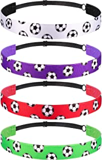 4 Pieces Non-slip Soccer Headband Adjustable Football Hairband for Girl Sport (Color Set 2)