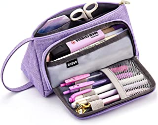 EASTHILL Large Capacity Colored Linen Storage Pouch Marker Pen Pencil Case Multi-Slot Stationery Bag Holder for Middle High School Office College Student Girl Adult Teen Simple Gift Purple