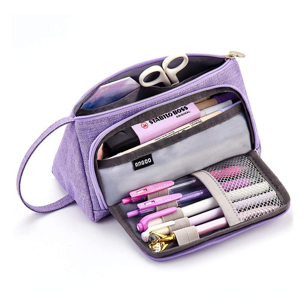 EASTHILL - Estuche de gran capacidad para lápices y bolígrafos de lino, color morado: Amazon.es: Oficina y papelería