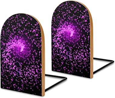 Pink and Purple Star 2pcs Heavy Wood Logs Bookends Modern for Adult,Kids,Book Shelves,Office,School and Home Kitchen Decorati