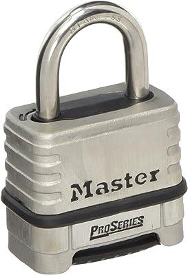 "Master Lock 1174D Padlock, 1.5"" x 2.2"" x 3"", Stainless Steel"