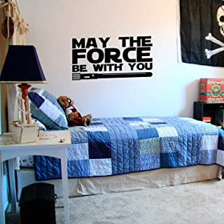 "Vinyl Wall Art Decals - May The Force Be with You - Star Wars Inspired Modern Decals for Home Bedroom Living Room Apartment - Kids Teens Adults Office Work Decorations 12"" x 23"" Black MAYTHFRCE6X11"