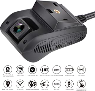 Smart Car Dash Cam - MiCODUS Dual Dash Cam, 3G GPS Tracking Camera Driver Behavior Analysis Full HD 1080P Front Camera 140˚ Wide-Angle DVR, G-Sensor, WDR, Live Video with GPS Tracker for Vehicle