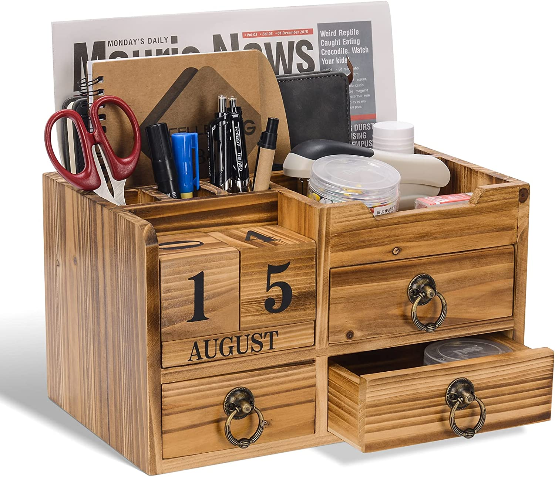 Wooden Desk Makeup Organizer, Rustic Desktop Organizer with 3 drawers, MailOrganizer, Cosmetic Storage Box with Block Calendar for Desktop and Office, Desk Organization (Brown)