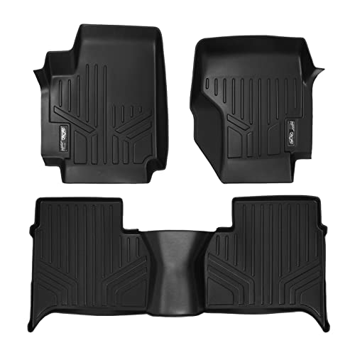 SMARTLINER Floor Mats 2 Row Liner Set Black for 2011-2014 Volkswagen Amarok