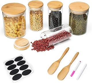 Mostfun Lot de 5 bocaux de conservation en verre borosilicate avec couvercle en bambou pour grains de café, fruits secs, s...
