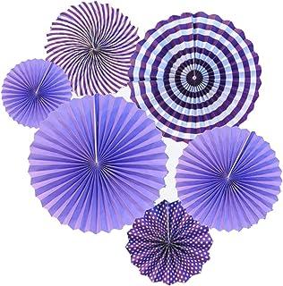 6 unidades de papel ventiladores decoración rosa cumpleaños flor de papel ventilador conjunto 40 cm 30 cm 20 cm para bodas decoraciones para el hogar (Purple)