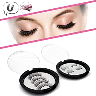 Magnetic Eyelashes 3 Magnets Natural Look Full Eye Triple Magnetic & Dual Magnetic Half Eye Lashes Extension 0.2mm Ultra Thin Magnet Lashes No Glue Handmade Reusable (2 Pair)