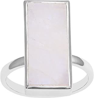 Statement 925 Sterling silver Women Engagement Ring Rainbow Moonstone